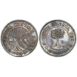 Guatemala (Central American Republic), 1/2 real, 1824M, NGC AU 53.