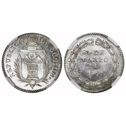 Guatemala (Republic), 1R-sized silver medal, 1847, NGC MS 64+, finest known in NGC census.