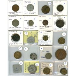 Large study collection of 331 Guatemala tokens, various denominations and dates, ex-Richard Stuart.