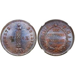 Haiti, copper 6-1/4 centimes, AN 43 / 1846, NGC MS 62 BN.