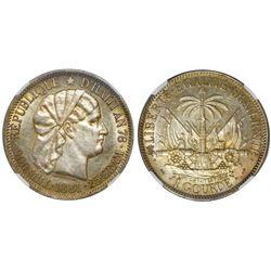 Haiti, 1 gourde, 1881, NGC AU 58.