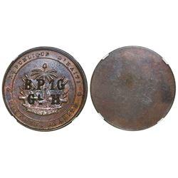 "Haiti, bronze uniface ""General Hippolyte"" 1 gourde, (1889), countermark ""B.P.1G / GL. H,"" rare, NGC"