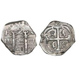 "Tegucigalpa, Honduras, provisional ""imitation cob"" 2 reales, 1823-PMPY, ex-Richard Stuart."