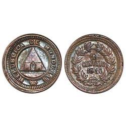 Honduras, bronze 1 centavo, 1910/1884, 1/2 centavo obverse and reverse dies, NGC AU 58 BN, finest an