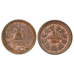 "Honduras, bronze 1 centavo, ""1610"" date (1910), denomination as 1 over 1/2, 5c obverse with 1/2c rev"