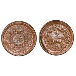 Honduras, bronze 1 centavo, 1910, 5c obverse die and 1/2c reverse die, NGC MS 64 BN.