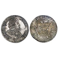 Kremnitz, Hungary, 1 thaler, 1653-KB, Ferdinand III, NGC AU 58.