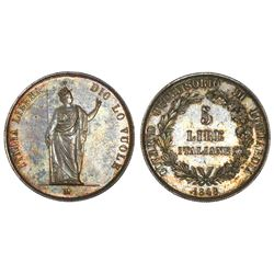 Lombardy, Italian States, 5 lire, 1848M, short stems, Milan mint, NGC AU 58.