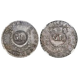 "Jamaica (British administration), 6 shillings 8 pence, ""GR"" double countermark (1758) on a Mexico Ci"