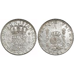 Mexico City, Mexico, pillar 8 reales, Charles III, 1761MM, cross between H and I.
