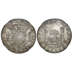 Mexico City, Mexico, pillar 8 reales, Charles III, 1761MM, cross between H and I, NGC AU details / c