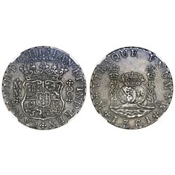 Mexico City, Mexico, pillar 8 reales, Charles III, 1761MM, cross between I and S, NGC XF 45.