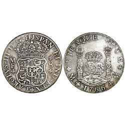 Mexico City, Mexico, pillar 8 reales, Charles III, 1766/5MF.