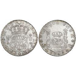 Mexico City, Mexico, pillar 8 reales, Charles III, 1767MF.