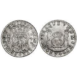 Mexico City, Mexico, pillar 4 reales, Philip V, 1744MF.