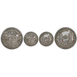 Mexico City, Mexico, pillar 1 real, Philip V, 1733MF, mintmark M.X, cinquefoil stops, rare.