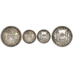 Mexico City, Mexico, pillar 1 real, Philip V, 1733MF, mintmark M.X, rosette stops.