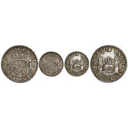 Mexico City, Mexico, pillar 1 real, Philip V, 1739MF, recut 39 in date, H/E in king's name, rare.