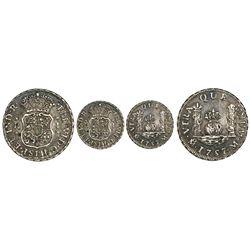 Mexico City, Mexico, pillar 1 real, Ferdinand VI, 1757M, dissimilar crowns, rare.