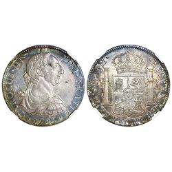 Mexico City, Mexico, bust 8 reales, Charles III, 1785FM, NGC AU 55.