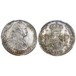Mexico City, Mexico, bust 8 reales, Charles IV, 1806TH, NGC MS 62.
