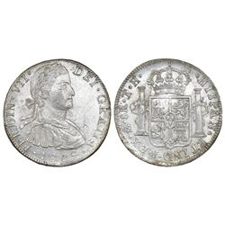 "Mexico City, Mexico, bust 8 reales, Ferdinand VII transitional (""armored"" bust), 1809TH."
