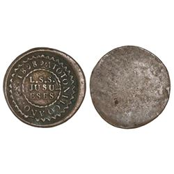 Atotonilco, Guadalajara, Mexico, copper uniface hacienda token, 1808, very scarce.