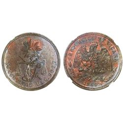 Mexico City, Mexico, proof copper pattern 50 centavos, 1869C, NGC PF 64 BN, finest and only known ex