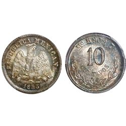 Mexico City, Mexico, 10 centavos, 1885M, PCGS MS66, finest and only example in PCGS census.