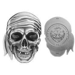 Palau (struck by Coin Invest Trust), $5, 2017, 3-D pirate skull with bandanna, antique finish, PCGS
