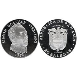 Panama (struck in Philadelphia), 20 balboas, 1976, Simon Bolivar, NGC PF 69 Ultra Cameo, tied with o