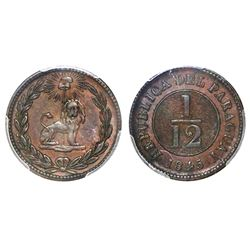 Paraguay (struck at the Birmingham mint, England), copper 1/12 real, 1845, PCGS AU50.