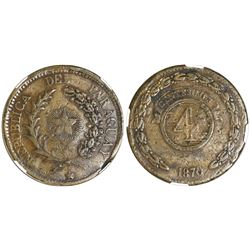 Asuncion, Paraguay, bronze 4 centesimos, 1870-SAEZ, NGC VF details / damaged.