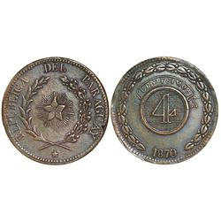Asuncion, Paraguay, bronze 4 centesimos, 1870.
