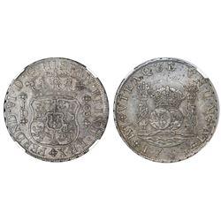 Lima, Peru, pillar 8 reales, Ferdinand VI, 1754JD, NGC XF 45.