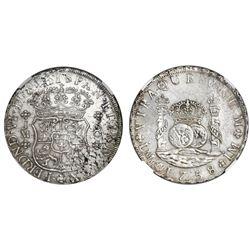 Lima, Peru, pillar 8 reales, Ferdinand VI, 1758JM, dots over both mintmarks, NGC AU details / cleane