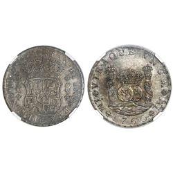 Lima, Peru, pillar 8 reales, Ferdinand VI, 1760JM, dots over both mintmarks, NGC AU 50.
