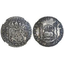 Lima, Peru, pillar 8 reales, Charles III, 1761JM, dot over left mintmark only, NGC VF details / chop