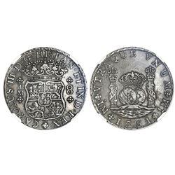 Lima, Peru, pillar 8 reales, Charles III, 1761JM, dots over both mintmarks, NGC XF 40.