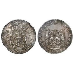 Lima, Peru, pillar 8 reales, Charles III, 1764JM, dots over both mintmarks, NGC AU 50.