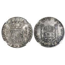 Lima, Peru, pillar 8 reales, Charles III, 1767JM, dot over left mintmark only, NGC XF 40.
