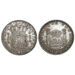 Lima, Peru, pillar 8 reales, Charles III, 1769JM, dot over left mintmark only.