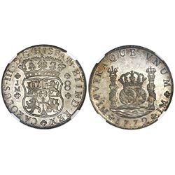 Lima, Peru, pillar 8 reales, Charles III, 1772JM, dot above left mintmark only, NGC AU 58.