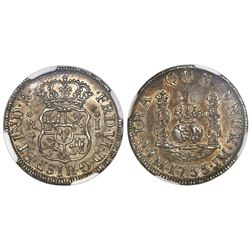 Lima, Peru, pillar 1 real, Ferdinand VI, 1755JM, NGC MS 61, finest known in NGC census.