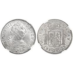 Lima, Peru, bust 8 reales, Charles III, 1772JM, NGC AU 55.