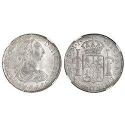 Lima, Peru, bust 8 reales, Charles III, 1777MJ, NGC AU 58.