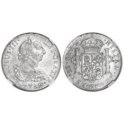 Lima, Peru, bust 8 reales, Charles III, 1789IJ, NGC AU 58.