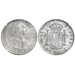 Lima, Peru, bust 8 reales, Charles IV, 1793IJ, NGC AU 58.
