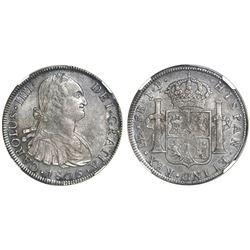 Lima, Peru, bust 8 reales, Charles IV, 1806JP, NGC AU 58.