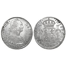 Lima, Peru, bust 8 reales, Charles IV, 1808JP.